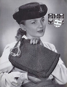 Vintage Crochet Knitting Patterns 1940s Hats Clutch Envelope Purse