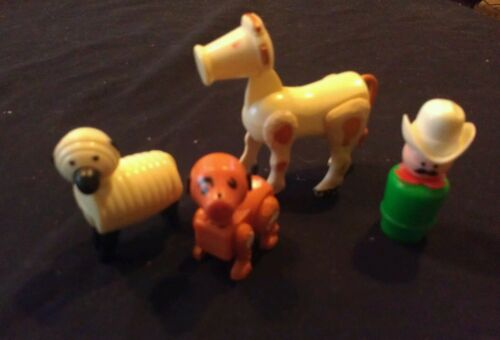 VINTAGE FISHER PRICE LITTLE PEOLE Farm animals COW SHEEP DOG FARMER in Toys & Hobbies, Pretend Play & Preschool, Fisher-Price | eBay