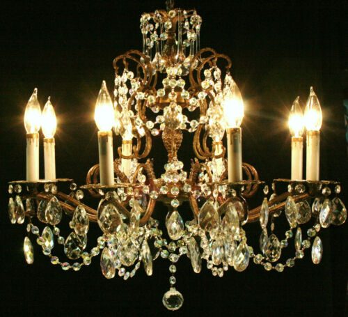 VINTAGE FRENCH DOUBLE PINEAPPLE BRONZE AND CRYSTAL CHANDELIER - 8 lights in Collectibles, Lamps, Lighting, Ceiling Fixtures | eBay