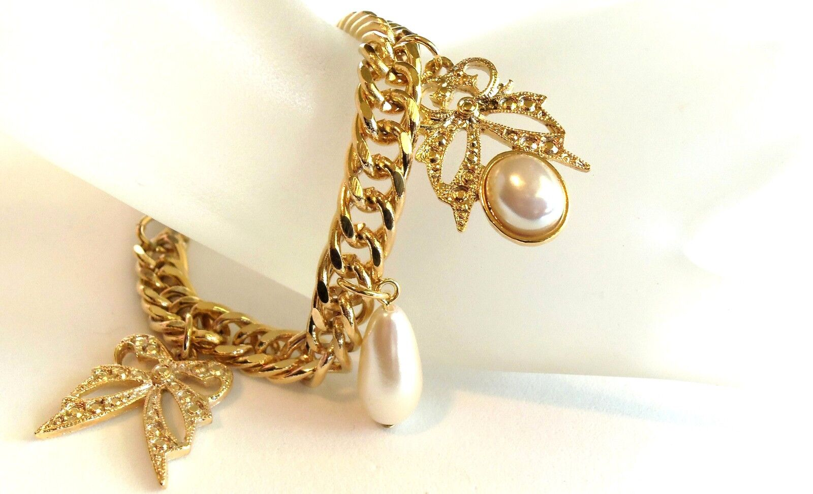 Vintage Goldplated Butterfly And Pearls Charm Bracelet