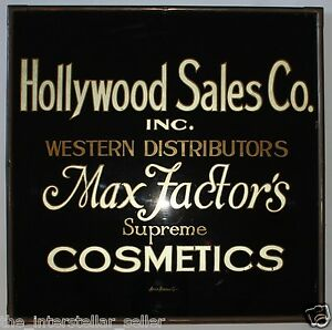 Factor Makeup on Hollywood Sign C 1920 S Max Factor Cosmetics Advertising Sign   Ebay