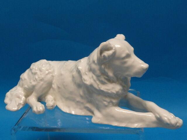 VINTAGE KPM Berlin Porzellanmarken WHITE PORCELAIN SETTER DOG FIGURINE