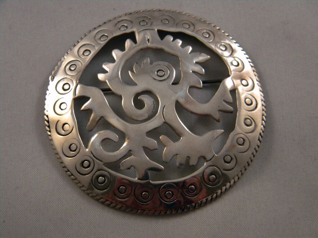 Vintage Large Taxco Mexico Sterling Silver Pin Pendant