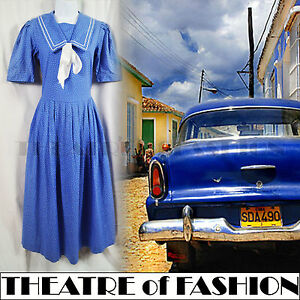 VINTAGE-LAURA-ASHLEY-SAILOR-DRESS-WEDDING-POLKA-DOT-50s-40s-WAR-BRIDE-30s-GATSBY