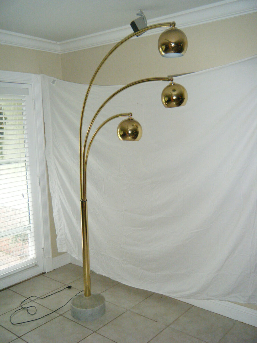 mid century brass plated arc floor lamp with 3 eye balls marble base. Black Bedroom Furniture Sets. Home Design Ideas