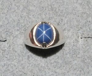 Mens 12x10mm Linde Lindy Crnfl Blue Star Sapphire Created