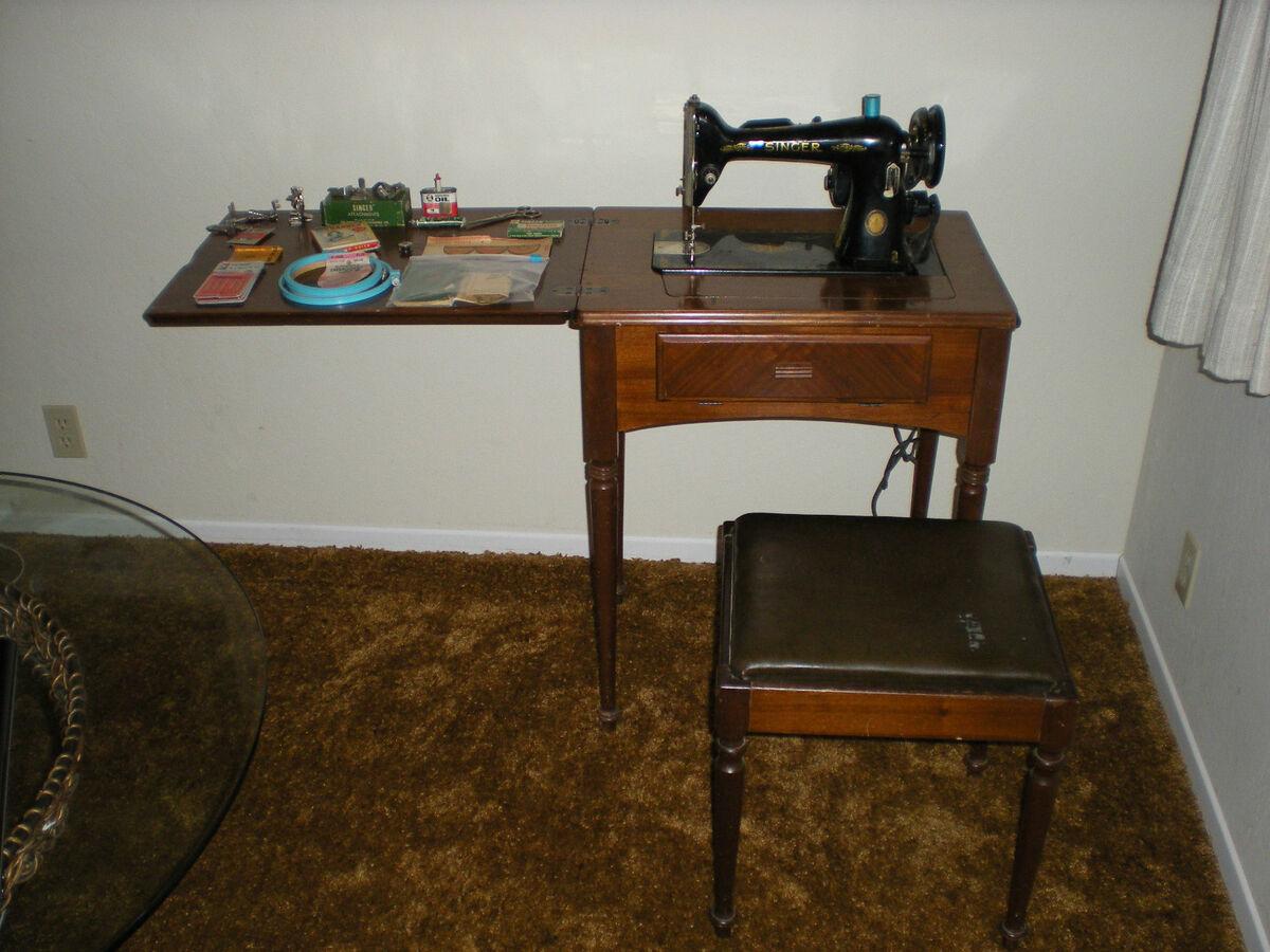 Vintage Singer 128 23 Sewing Machine 1851 1951 Mint Original with Original Seat