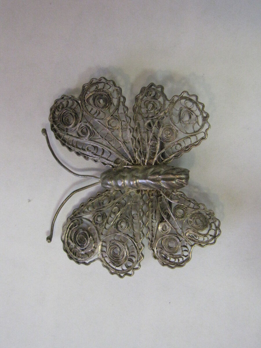 VINTAGE STERLING SILVER MEXICO BUTTERFLY BROOCH PIN VERY BEAUTIFUL