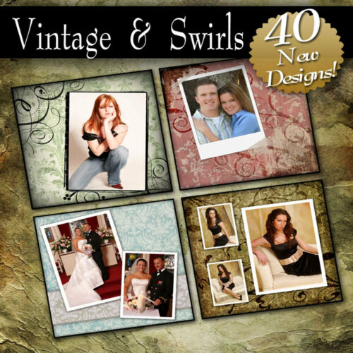 VINTAGE & SWIRLS PRO PHOTOSHOP TEMPLATES SENIOR BACKGROUNDS PHOTOGRAPHY ALBUM in Cameras & Photo, Lighting & Studio, Background Material | eBay