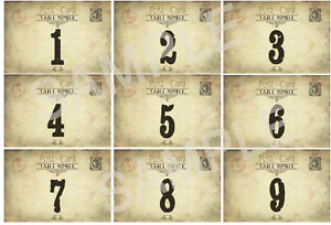 VINTAGE WEDDING TABLE NUMBERS - SHABBY CHIC -2 Sizes available (DOUBLE ... Vintage Table Numbers