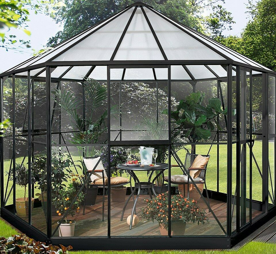 vitavia gew chshaus hera 9000 schwarz esg glas pavillon gartenhaus m fundament ebay. Black Bedroom Furniture Sets. Home Design Ideas