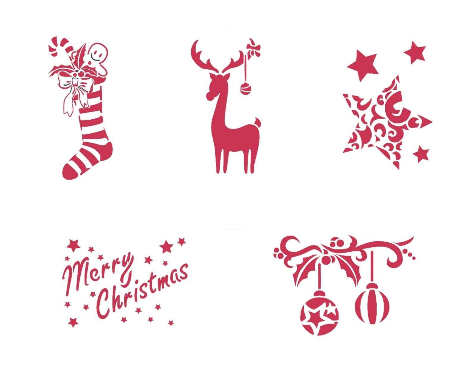 viva decor schablone textil wand motiv weihnachten sterne kugeln rentier dina5 ebay. Black Bedroom Furniture Sets. Home Design Ideas