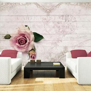 vlies tapete tapeten fototapete rosa rose kunst holz wand pflanzen bild 3346 ve ebay. Black Bedroom Furniture Sets. Home Design Ideas