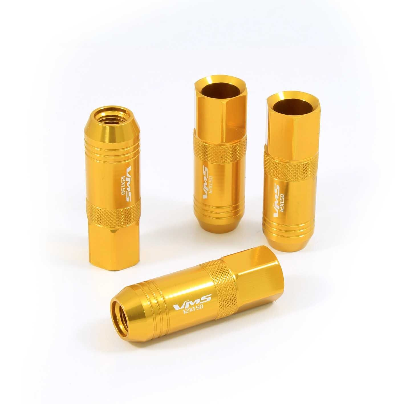 vms 20 gold 60mm aluminum extended tuner lug nuts lugs for wheels rims 12x1 5