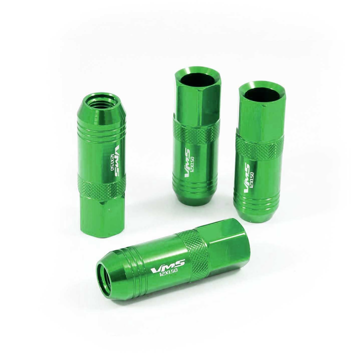 vms 20 green 60mm aluminum extended tuner lug nuts lugs for wheels rims 12x1 5