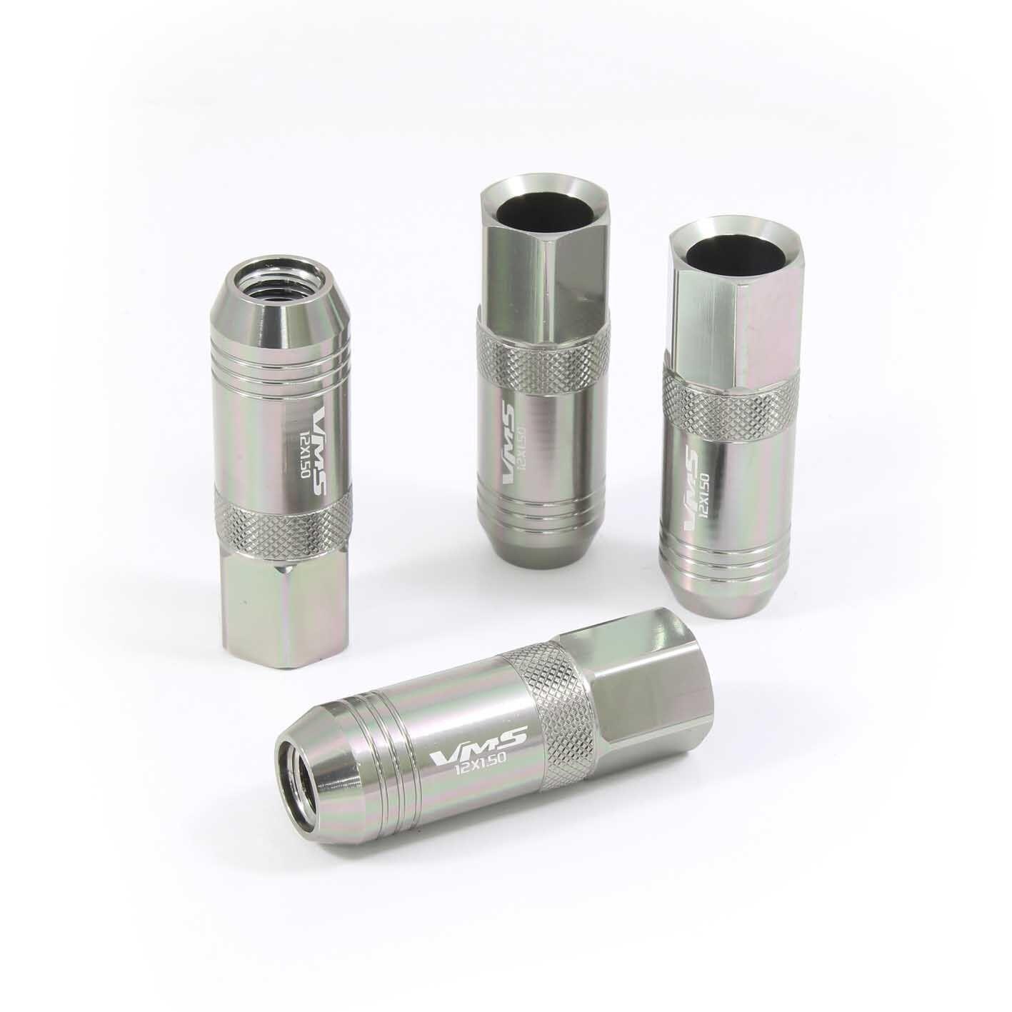 vms 20 gun metal 60mm aluminum extended tuner lug nuts lugs for wheels 12x1 5