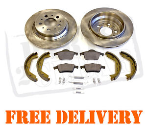 VOLVO-S60-S80-REAR-BRAKE-DISCS-PADS-HAND-BRAKE-SHOES-FITTING-KIT