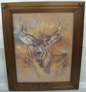 vtg 1978 home interiors silent buck deer picture k maroon home interiors deer picture and candle holder coburg