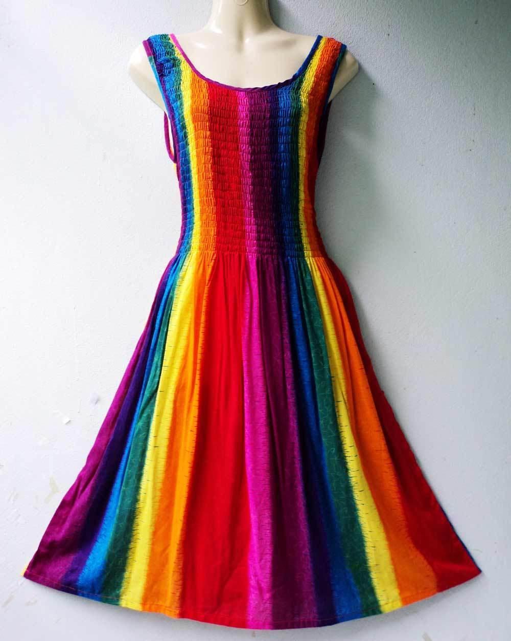VTG 60's Cute Rainbow Beach Vintage Summer Sun Women Rayon New Dresses S M L