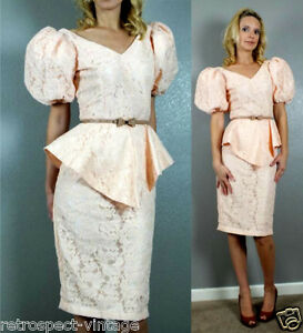 Vtg 80s Romantic Peach Peplum Lace Pencil Skirt Wedding Formal Party Dress XS