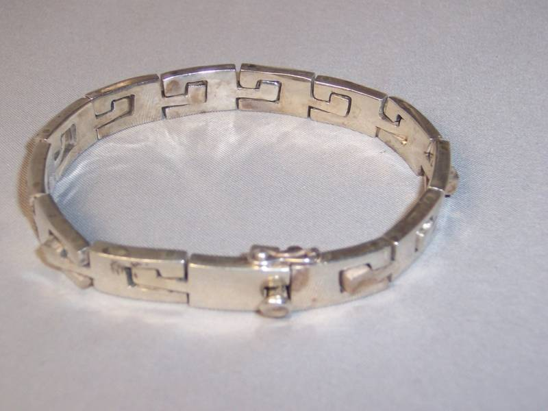 VTG HEAVY MEXICAN STERLING SILVER PUZZLE LINK BRACELET