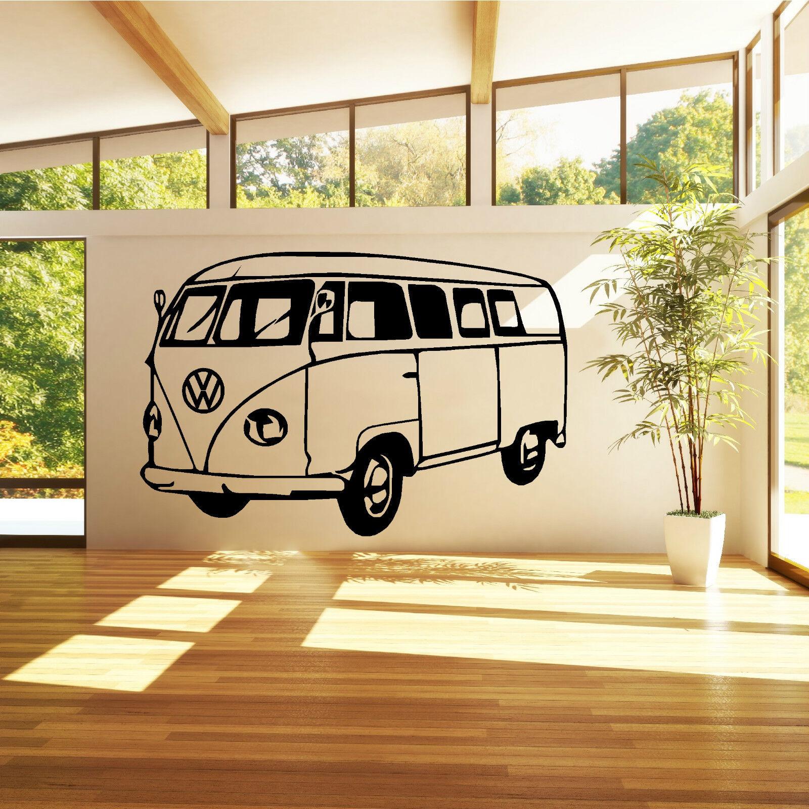 Vw Camper Van Vinyl Wall Art Sticker Decal Bedroom Living Room Study Kitchen Ebay