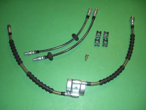 VW Mk1 Caddy Stainless Braided Brake Line Hose Kit DOT