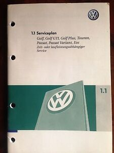 vw serviceheft scheckheft serviceplan wartungsheft golf. Black Bedroom Furniture Sets. Home Design Ideas