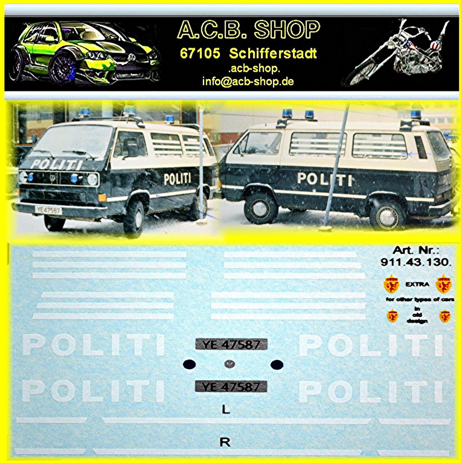 vw t3 politi norway 1990 decal abziebilder 1 87 police cars of the world ebay. Black Bedroom Furniture Sets. Home Design Ideas