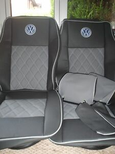 VW TRANSPORTER T5 PAIR SEAT COVERS LEATHER BENTLEY DIAMOND