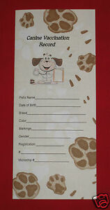 Blank Dog Vaccination Record - Health Forms and Records