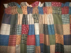 Valance country patchwork checked striped prim fabric kitchen curtain