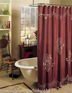 Valencia Cutwork Fabric Shower Curtain Burgundy