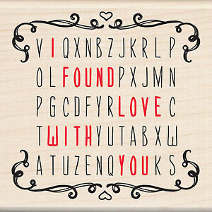 Valentines Word Search Love You Wood Mounted Rubber Stamp by ...