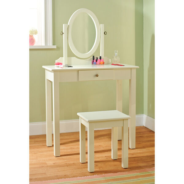 Vanity table stool set w revolving oval mirror drawer antique white finish ebay - Stool for vanity table ...