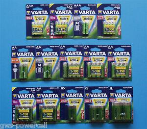 Varta-Akku-Auswahl-Phone-Solar-AA-AAA-Baby-C-Mono-D-9V-Block-800-mAh-3000-mAh