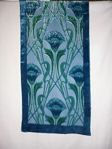 Devore Scarf Blue Green Art Deco Nouveau Floral Design NEW EBay