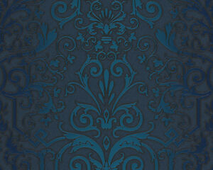 Versace home wallpaper 935454 tapete blau ornament satin for Home wallpaper ebay