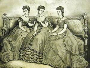 Victorian-Fashion-EVENING-DRESSES-1868-Art-Print-Matted