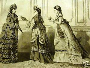 Victorian-Fashion-EVENING-DRESSES-1871-Art-Print-Matted