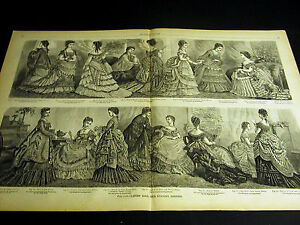 Victorian-Ladies-Fashion-1873-BALL-and-EVENING-DRESSES-Large-Folio-Print
