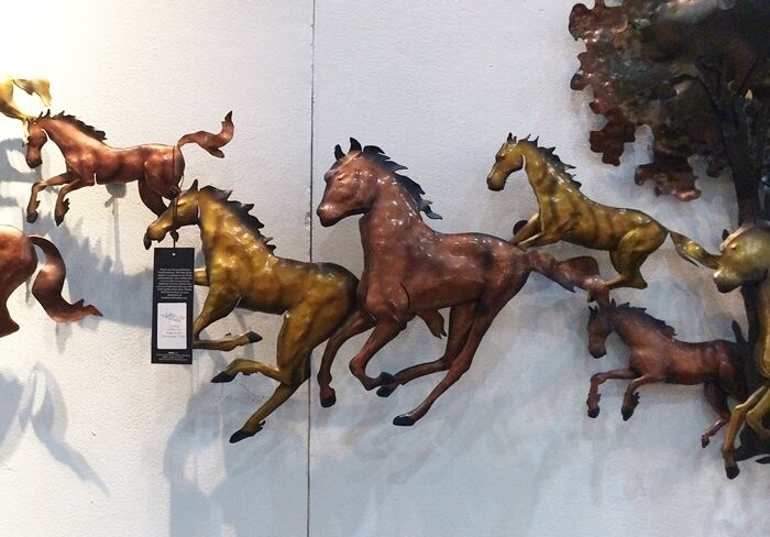 Running Horse Wall Art 3D Metal Home Sculpture Decor Wall Panels ...