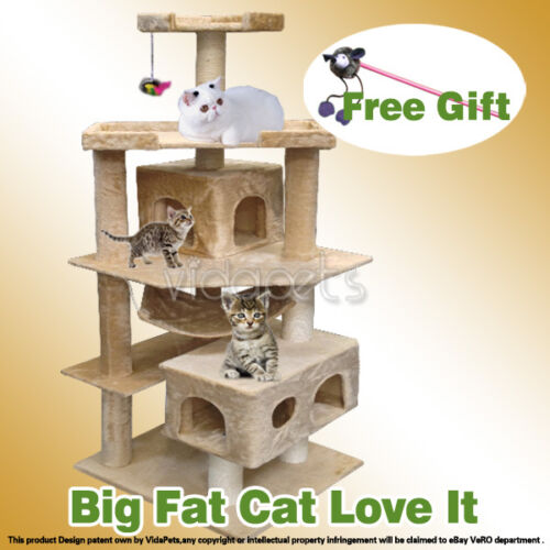 "Vidapets 71"" Beige Big Fat Cat Tree Condo Furniture Scratch Post Play House in Pet Supplies, Cat Supplies, Furniture & Scratchers 
