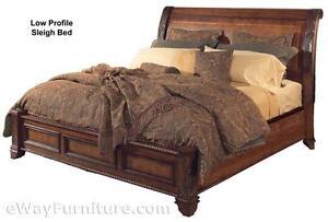 Bedroom Sets Vineyard King Sleigh Low Profile Bed Bedroom Set Cherry