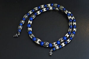 Vintage-1930s-Art-Deco-Lapis-Sterling-Silver-GraduateD-bead-NECKLACE-Gorgeous
