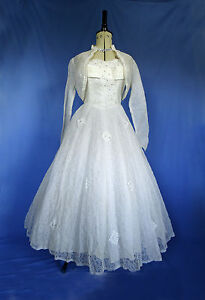 Vintage-1950s-Lace-Wedding-Dress-and-Matching-Bolero-Handmade-Approx-Size-8-10