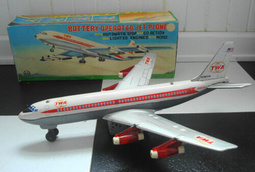 Vintage 1960's MARX Tin Battery Operated TWA 707 Jet Airplane in Toys & Hobbies, Electronic, Battery & Wind-Up, Battery Operated | eBay