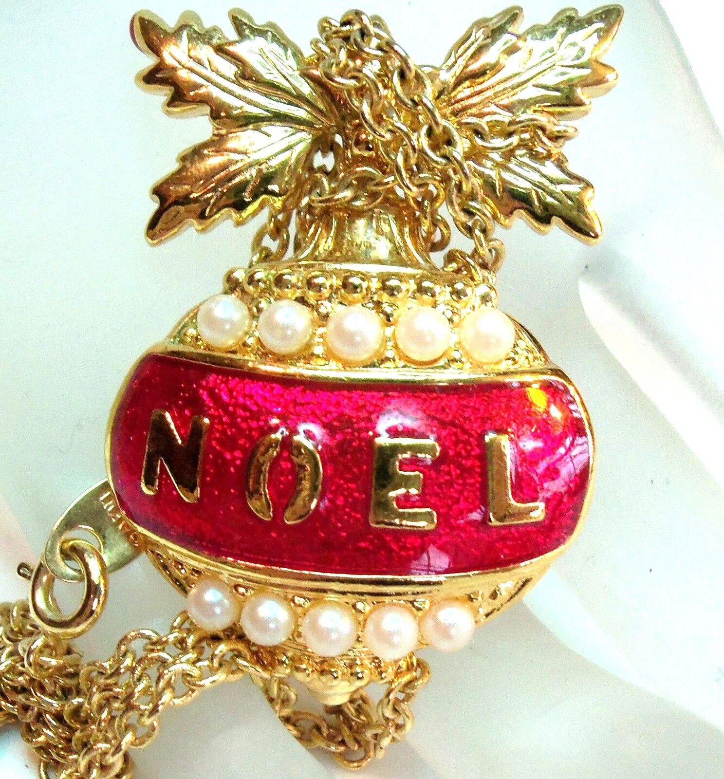 Vintage Avon Signed Pretty Red Amp Gold Christmas Noel Bell