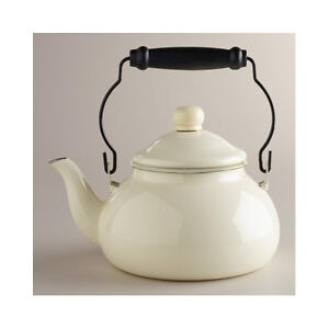 Vintage Antique White 2 Qt Tea Pot Enameled Stainless Steel Kettle Coffee Teapot