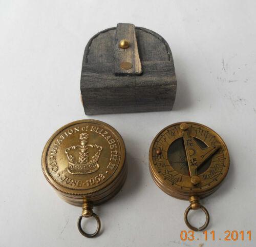 Vintage Brass Marine Pocket Sundial Compass leather case, Brass Marine Compass in Antiques, Maritime, Compasses | eBay